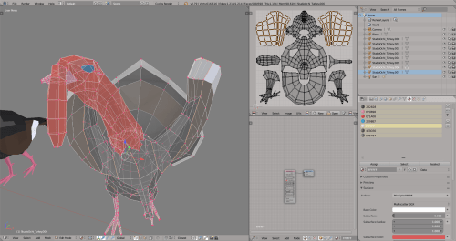 3D render turkey lowpoly model