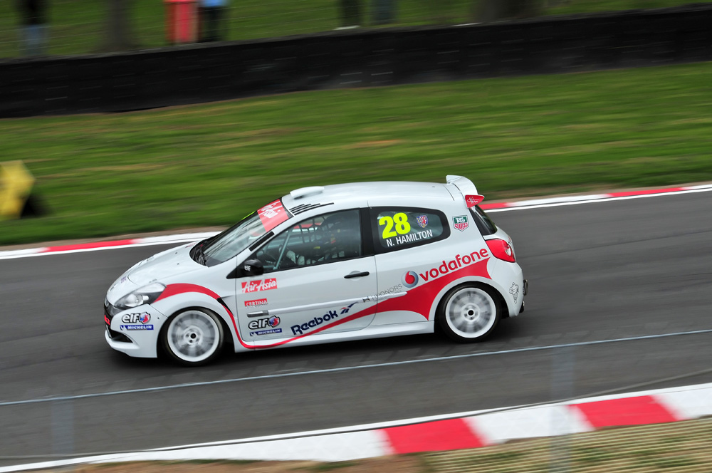 Nicholas Hamilton competing in the Renault Clio Cup at Brands Hatch, 31/03/2012.