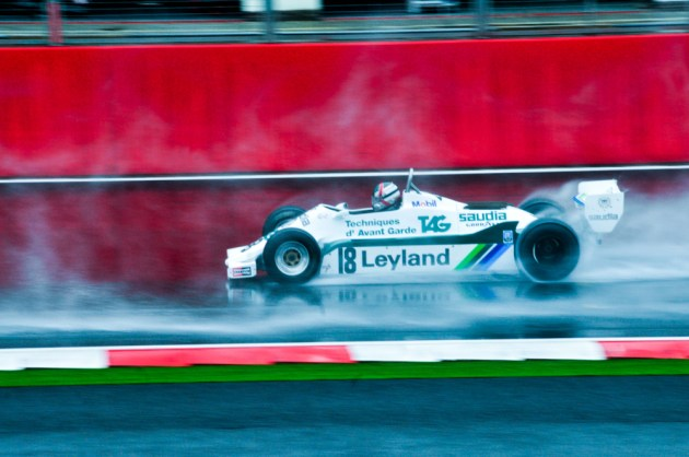 Richard Meins driving the 1979 Williams FW07 during qualifying for the HFO Historic race at Silverstone, 06/07/2012.