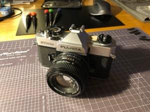Fujica STX-1N SLR film camera with 50mm Fujinon lens attached
