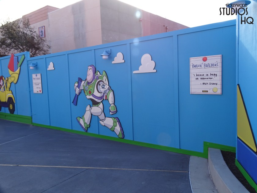 Heading over to Pixar Place, the construction walls for Toy Story Land has been pushed back to allow a better crowd flow heading to Toy Story Midway Mania. Speaking of which, for the past several weeks the whole inside que area has been under construction. The main part of the regular stand by line and fastpass line is outside. They merge together and enter an exit only entrance where you can see the main que behind construction walls. Something to keep in mind…. from April 9th through May 7th there will be no fastpass available for this attraction due to construction of Toy Story Land.