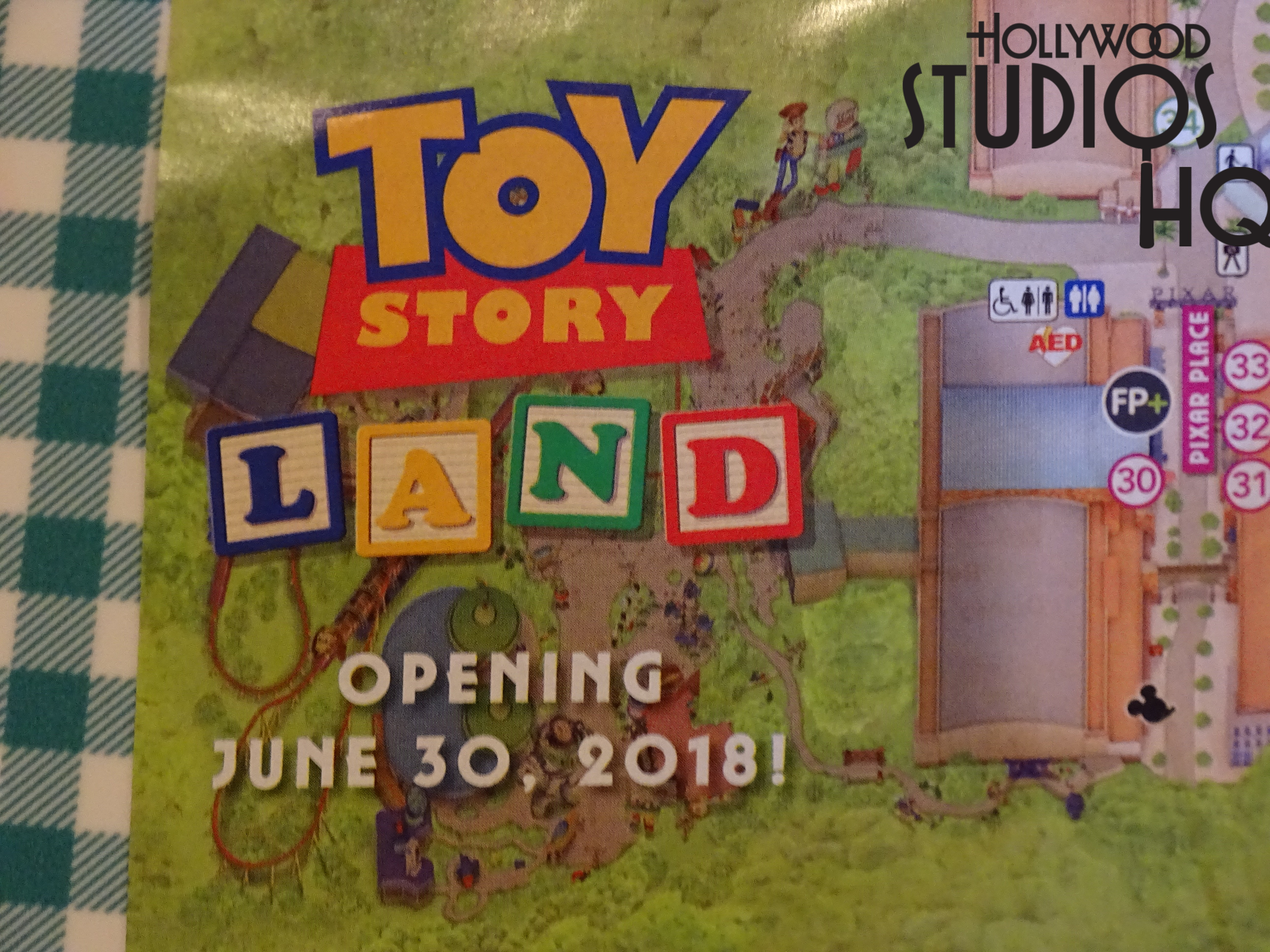Heads up regarding the soon to open Toy Story Land. Two existing buildings (Toy Story Midway Mania and Walt Disney Presents) have a new fresh coat of paint. Also the longstanding Soundstage 3 logo on the side of Toy Story Midway Mania is now gone. The latest Park maps available contain a small description inside of the new Toy Story Land.