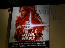 Look closely to spot the brand new posters on top of The Little Mermaid building that promote The Last Jedi coming out on Blu Ray and Digital this month. These posters include one with the light side and the other with the dark side. Included are favorite characters from each side of The Force along with the release dates of the movie. Enjoy the pictures and video below for the full experience at Disney's Hollywood Studios. Photo by John Capos
