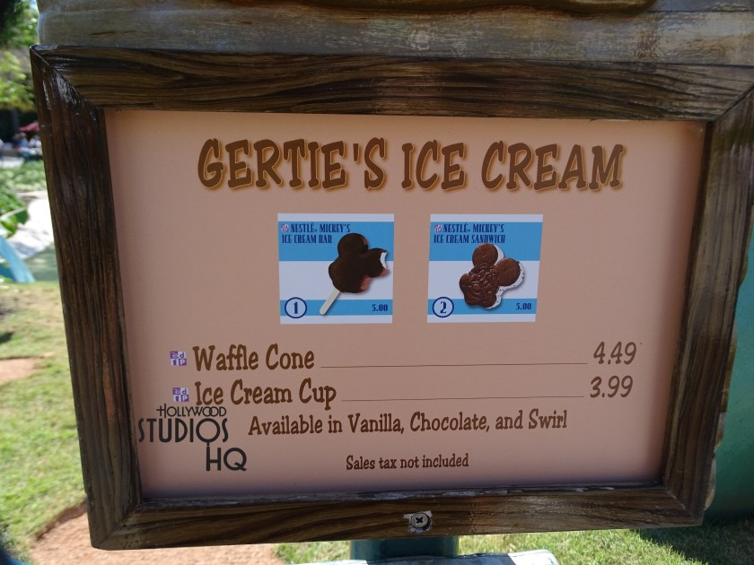 Attention ice cream lovers: Gertie the Dinosaur of Extinction ice cream location has a slight menu display change that not everyone may notice. While the menu including waffle cones, premium bars, beverages, etc. is the same, there are two new small photos showcasing the great Mickey ice cream bar as well as the tasty Mickey ice cream sandwich. Hard to choose which is better? By the way…did you know that Gertie was serving guests soft serve on the Park's original opening day in 1989 at Disney's Hollywood Studios. Photo by John Capos