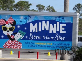 There is a brand new billboard in the tram travel lanes encouraging guests to follow Minnie Mouse on Instagram. Disney's Hollywood Studios. Photo by John Capos