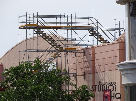 Construction scaffolding was spotted on the back side of the Chinese Theatre which is now closed for renovation to create the new Mickey and Minnie's Runaway Railroad attraction. Disney's Hollywood Studios. Photo by John Capos