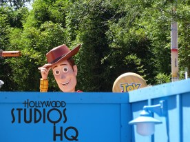 Guest can now catch a glimpse of the beloved Woody offering a pre-opening tip of his hat just above the construction wall besides Walt Disney Presents. This star character stands aside the new Toy Story Land giant entrance marquee touting his 7 foot wide cowboy hat. With the attraction's grand opening just over 2 months away, the large Toy Story Land sign is a welcome sight. Disney's Hollywood Studios. Photo by John Capos