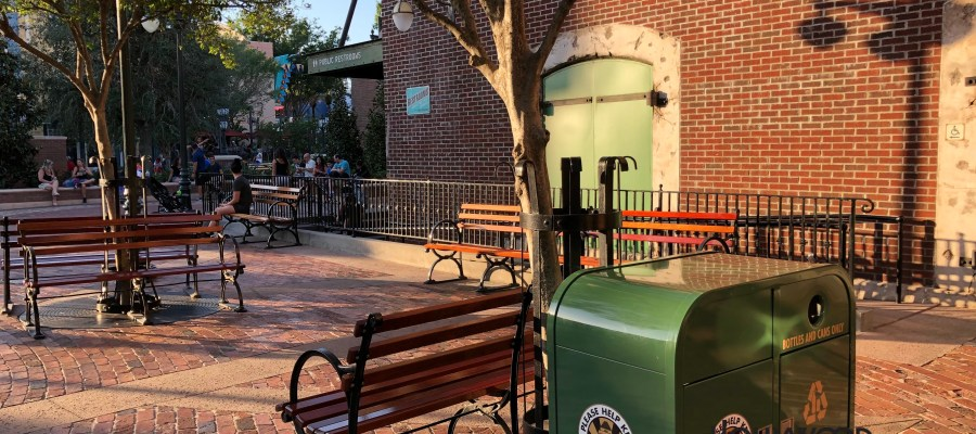 Guests will now find that stroller overflow parking needs have necessitated the relocation of outdoor bench seating formerly available on the left side of the Muppet Vision 3 D building. These multiple wood benches have been moved to the front of the side exit of PizzeRizzos near the Miss Piggy fountain. Meanwhile, outside seating is still available at the exit for the Muppet Vision near Stage One Company store. Disney's Hollywood Studios. Photo by John Capos