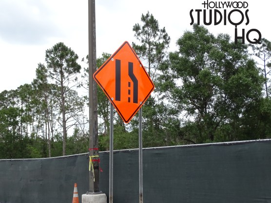 The vast new paved guest parking area has opened to route incoming traffic to the existing parking sections. Meanwhile, as pictured below, the former paved traffic entrance routing that curved guest vehicles past the lot expansion work is now itself under construction. Arriving visitors will also notice new multiple vertical steel beams erected near the Park's future main entrance. Disney's Hollywood Studios. Photo by John Capos
