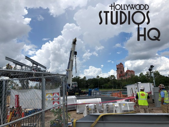 Worker efforts are still focused on the Hollywood Studios gondola arrival and departure station near the main park guest entrance. Additional steel horizontal beams were placed above the platform foundation along with bright red metal panels. A wide clearing was previously carved out through the wooded area on the edge of the current guest parking lot to accommodate the now completed vertical support towers. This will facilitate the Skyliner routing from Hollywood Studios to the Caribbean Beach Resort station. Disney's Hollywood Studios. Photo by John Capos