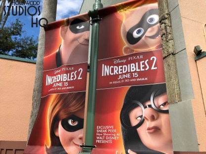 Incredible 2 characters from the upcoming motion picture inhabit lamp post banners directly across from Walt Disney Presents. Edna Mode as well as Incredibles 2 family members welcome guests to their 10 minute film preview shown daily in the Walt Disney Theatre from Park opening until 8 pm. Disney's Hollywood Studios. Photo by John Capos