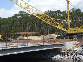Construction activity continues at various locations along the future guest vehicle direct entrance that will serve all parking areas. As pictured below, a new span is nearing completion adjacent to the existing exit lanes. Likewise, workers continue grading in preparation for future paving near the entrance intersection at Osceola Parkway. Expect this entire new entrance route to be completed by 2019. Disney's Hollywood Studios. Photo by John Capos