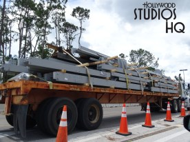 Delivery semi-trucks rumble into this future attraction with steel material loads as building continues. Photos below capture workers continuing construction on the mountain peaks. Site work is visible with soil removal on the location of the future Star Wars resort. Disney's Hollywood Studios. Photo by John Capos