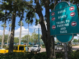 Whether walking to busses, trams, or Friendship boats, guest now have new directional signs. Traditional Studios colored signs are located outside the Park's main entrance. Two signs are erected near the tram departure loading area, while an additional sign is located across the outside Guest Services windows. Disney's Hollywood Studios. Photo by John Capos