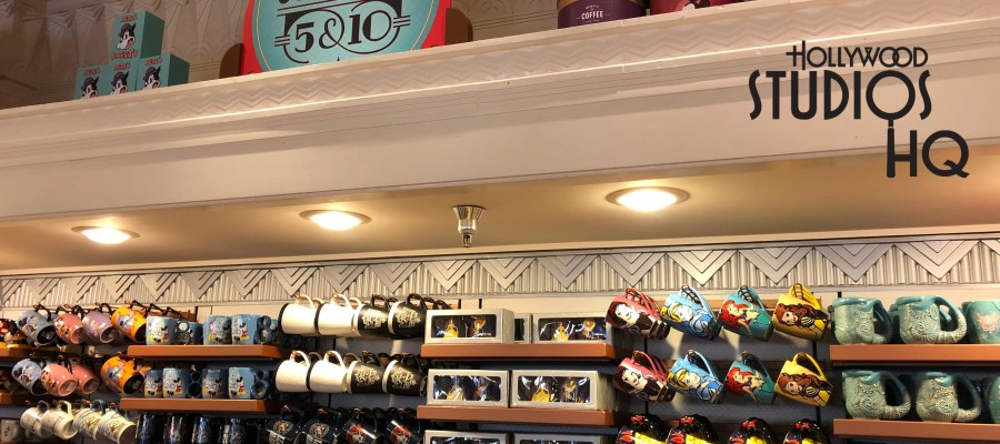 Guest shoppers can select from a new variety of beverage mugs featuring their favorite Disney characters. Popular Disney Characters from the 90's are featured on attractive mugs with a white background and color ring trim. Choices include Ducktales with Scrooge McDuck, Chip and Dale Rescue Rangers, as well the beloved Dark Wing Duck. Also, Tail Spin Fans can have the images of Baloo and King Louie join them on their kitchen table with this colorful Tail Spin mug. The more contemporary designs include the Frozen characters Elsa and the Snow Monster, an Edna Mode cup and saucer set, Winnie the Pooh and Piglet, Tigger, Kanga and Roo, as well as a mug featuring the lovable character Eeyore. Guests should be sure to visit Celebrity Five and Dime's rear wall shelf display to make their selections. Disney's Hollywood Studios. Photo by John Capos