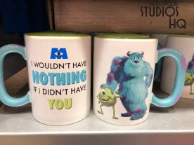 Quick merchandise updates for Disney Hollywood Studios guests to note. A new themed Monsters Inc. with Mike and Sully mug is on shelves in both Reel Vogue and Five & Dime shopping locations. Glow in the dark adult tee shirt apparel is lurking for shoppers in the Tower of Terror gift shop. Toy Story balloons for the young and old at heart can be purchased from cast members up and down both Sunset and Hollywood Blvds. Photo by John Capos
