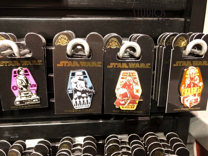 A buy one, get one free offer for collector pins from the motion picture Solo: A Star Wars Story can be found at various merchandise locations. These include Mickey's of Hollywood and Star Wars Launch Bay. Disney's Hollywood Studios. Photo by John Capos
