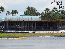 Construction workers continue to work on the future guest boarding cue adjacent to the main station. Likewise, photos below reveal new framing for a roof extension. Stay connected to Hollywood Studios HQ for weekly progress reports right up to the inaugural Skyliner opening with the first passenger gondola loading. Disney's Hollywood Studios. Photo by John Capos