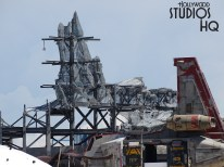 Today's update includes the installation of gypsum board to various structures. This installation of fire resistant drywall covering includes a large temple that is visible in the photos below. Where else can fans view current building progress in detail other than at Hollywood Studios HQ. Star Wars: Galaxy's Edge. Disney's Hollywood Studios. Photo by John Capos