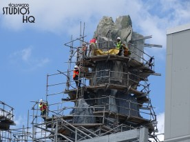 Workers continue to make steady progress toward completion of the Planet Batuu mountain scape outer surfaces. Photos below also reveal further exterior painting of the Muppet 3-D Vision building that will border the new Land. Keep viewing Hollywood Studios HQ weekly for the most complete Star Wars: Galaxy's Edge updates. Disney's Hollywood Studios. Photo by John Capos