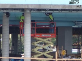 Workers continue construction activity on the Park's Skyliner station. Ceiling and conduit work is visible in the brand new photos below, while others work on the surrounding soil. When completed, this gondola transportation system will wisk guests to and from the park from both EPCOT and various resorts. Disney's Hollywood Studios. Photo by John Capos