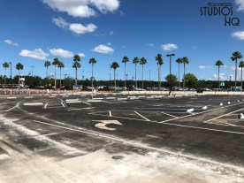 Construction progress is visible from the Goofy/Film parking lot of connector bridges and ticket booths that will serve future arriving and departing guests. In addition, the Stage parking area near the newly opened bus terminal has expanded to provide guest handicap vehicle parking. Guests may notice fresh paving of future Park entrance ramps adjacent to the ESPN Wide World of Sports entrance. Disney's Hollywood Studios. Photo by John Capos