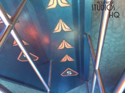 Guests enjoying the Star Tours attraction will find new boarding cue floor markers at their departure gates. Both row numbers and individual rider wait positions are designated by the Star Tours logo. Disney's Hollywood Studios. Photo by John Capos