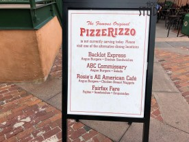 Guests with a taste for pizza will need to visit Sunset Ranch Market as the The Famous Original PizzeRizzo is not serving at this time. This popular dining location suspended operations on October 21. No official word on a reopening date. Hollywood Studios HQ will track all further announcements. Disney's Hollywood Studios. Photo by John Capos