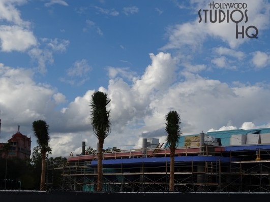 Planting of palm tree foliage has been a main focus of workers this week. Along with this landscaping, a new roof line trim surface in contrasting color is being applied by contractors. There is no better source for the latest Skyliner news than Hollywood Studios HQ. Disney's Hollywood Studios. Photo by John Capos