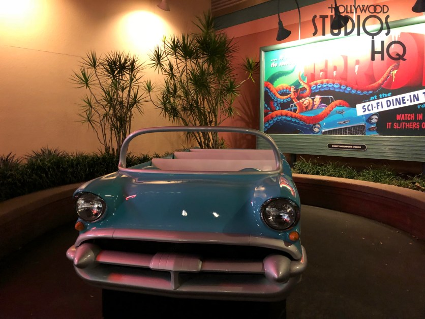 The popular guest photo-op convertible vehicle has returned to the Sci- Fi Dine-In Theater main entrance. Disney's Hollywood Studios. Photo by John Capos