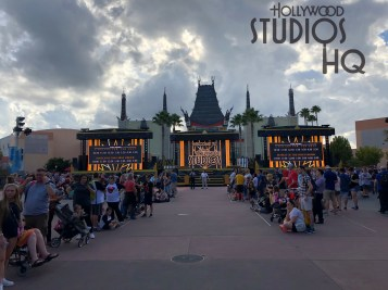 The Park's center stage has returned to its' prominent location after the conclusion of walkway concrete renovation. Guests can once again enjoy colorful Star Wars: A Galaxy Far Far Away daily shows. This massive three section mobile staging is removed nightly. Disney's Hollywood Studios. Photo by John Capos