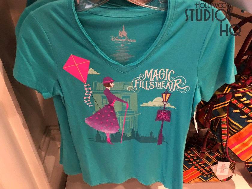 The Stage 1 Company Store offers shoppers their first glimpse of brand new apparel and accessories themed on the upcoming motion picture Mary Poppins Returns. Located near the Muppet Vision 3D exit, the store displays colorful handbags, logo note cards, Pop figures, and a multi colored women's top. There is even a Mary Poppins Returns doll. Hollywood Studios HQ brings viewers the latest news on merchandise offerings. Disney's Hollywood Studios. Photo by John Capos