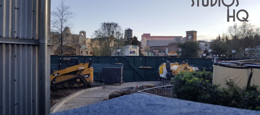 Green refurbishment barriers have gone up around the former Star Wars speeder bike photo op on Grand Avenue. Construction equipment is now in place. Stay tuned to Hollywood Studios HQ for the latest developments. Disney's Hollywood Studios. Photo by John Capos