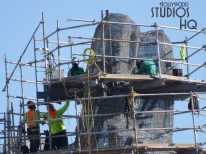 Construction welders are continuing fabrication of mountain peaks. Color accenting of the terrain with paint splash is visible on the landscape. Hollywood Studios HQ tracks the latest Star Wars: Galaxy's Edge progress. Disney's Hollywood Studios. Photo by John Capos