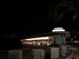 Crews continue electrical work on the guest resort bus arrival and departure structures with one terminal illuminated at night. Landscaping efforts include the planting of numerous palm trees throughout the area. Contractors continue structural work in the former guest tram pick up area. Hollywood Studios HQ is first in all Park construction news. Disney's Hollywood Studios. Photo by John Capos