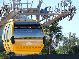 Workers were observed aboard testing in motion a new Skyliner gondola. The unveiled guest transportation vehicle revealed a front and back louvered windshield design for cabin ventilation. Check back regularly at Hollywood Studios HQ for the latest Disney Skyliner news. Disney's Hollywood Studios. Photo by John Capos