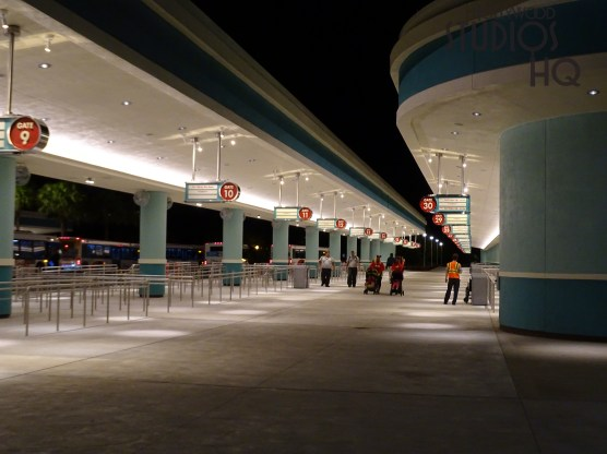 After a year of construction, guests now enjoy expanded passenger loading and unloading areas that serve all Disney Resort locations. Charter bus arrivals continue to operate from the temporary terminal area that was used during the construction. Hollywood Studios HQ brings viewers continued main entrance updates. Disney's Hollywood Studios. Photo by John Capos