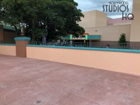 Workers have removed construction walls from around the Chinese Theatre outside cue area. Likewise, new decorative lamp fixtures and guest cooling fans have been installed. Crews have also reopened the walkway ramp leading from this area to Toy Story Land. Stay tuned here to Hollywood Studios HQ for all construction news. Disney's Hollywood Studios. Photo by John Capos