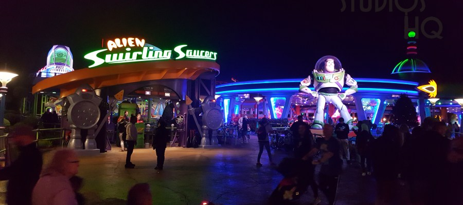 Guests enjoy their favorite attractions after sunset before the winter 8 pm park closing time. Toy Story Land as well as Star Wars: Galaxy's Edge remain popular areas for evening crowds. Stay connected to Hollywood Studios HQ for the latest Park news. Disney's Hollywood Studios. Photo by John Capos