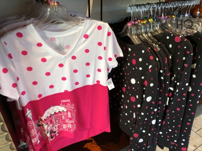 Shoppers can select from new Minnie Mouse themed women's apparel and accessories at Carthay Circle. Colorful tops, tee shirts, along with coordinated backpacks and bags, are offered. Keep your 2020 focus on Hollywood Studios HQ. Disney's Hollywood Studios. Photo by John Capos