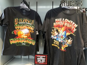 Shoppers can enjoy discounted Halloween merchandise throughout Universal Studios. Adult tee shirts from Halloween Horror Nights of the past are priced at 50 to 70 % off. Discounted face masks, key chains, and socks with the same theme are also available at savings. Hollywood Studios HQ remains your best choice for Park news. Subscribe today. Universal Orlando. Photo by John Capos