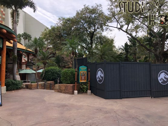 The popular water attraction Jurassic Park River Adventure is closed for seasonal maintenance. Photos below reveal the attraction entrance as well as the splash down area concealed by construction walls. Guests will once again be able to escape the jaws of a T Rex on their river raft when this attraction is scheduled to reopen on January 29, 2021. Stay connected to Hollywood Studios HQ for all Park updates! Universal Orlando. Photo by John Capos