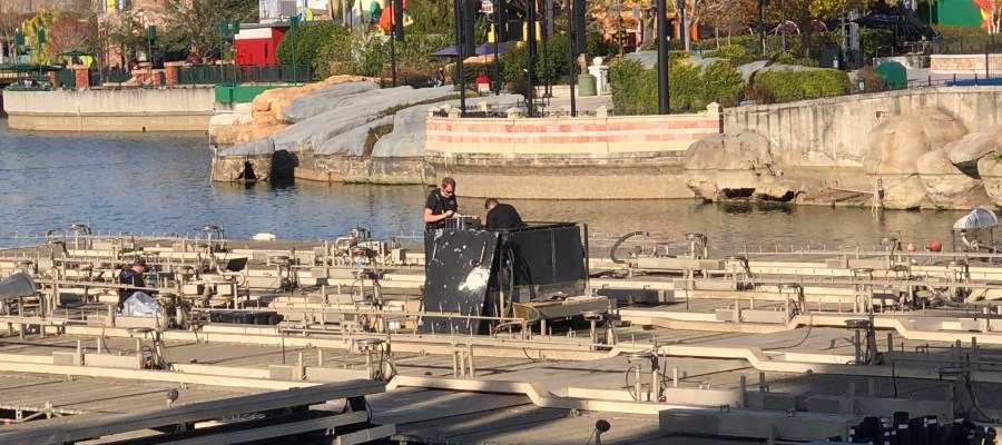 Universal Orlando's epic nighttime celebration infrastructure in currently undergoing maintenance. Workers have lowered the lagoon water level to expose the water and lighting display mechanisms to conduct their work. Stay tuned to Hollywood Studios HQ for all the latest Park news! Photo by John Capos