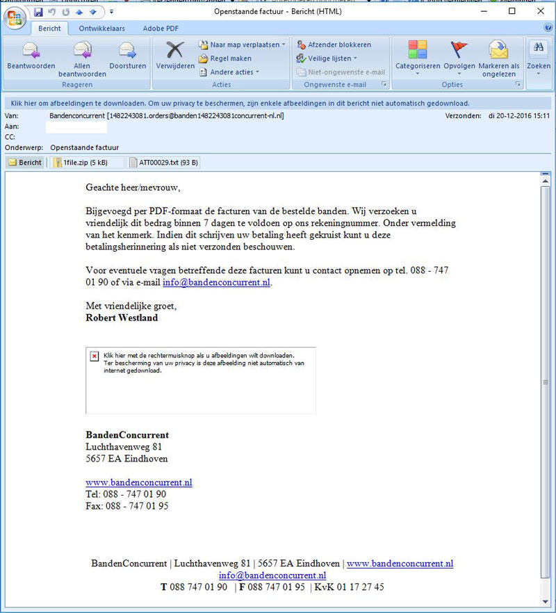 Phishing mail Bandenconcurrent.nl