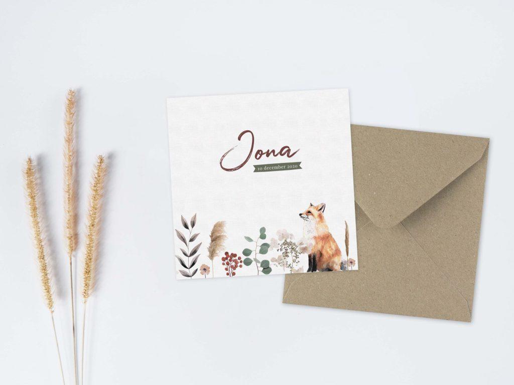Geboortekaartje-op-maat-veldbloemen-vosje
