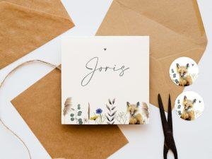 Geboortekaartje-veldbloemen-vos