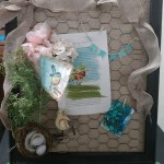 DIY crafts Spring display chicken wire frames merchant kitty guided art