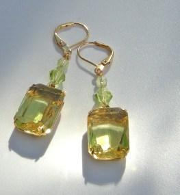 Margarita, Daffodil Earring, Vintage German two-tone glass stone set in brass.