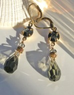 Margarita, Black Diamond crystal drop with jet on crystal round set stone - all vintage Czech glass
