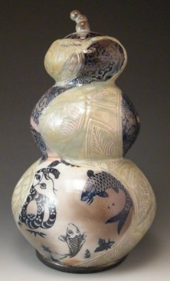 Jay Lacouture, Gourd Jar, Soda Vapor Glazed Porcelain